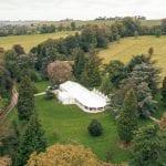 Tissington Hall WEDDING VENUE PEAK DISTRICT aerial shot