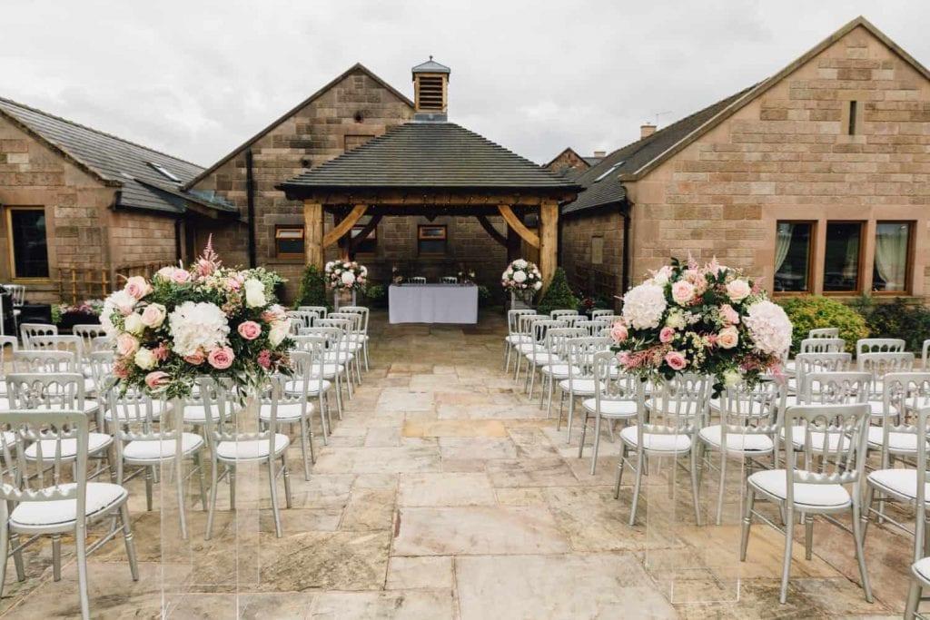 Heaton House Farm wedding venue outdoor ceremony