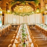 East Riddlesden Hall Trestle tables decor in barn 1