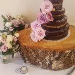 The Flying Fish Wedding Barn cake on log stand 29