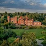 Hodsock Priory Wedding Venue in Worksop South Yorkshire Outdoor aerial shot