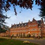 Stanbrook Abbey Wedding Venue Malvern West Midlands exterior autumn through trees