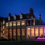 Stanbrook Abbey Wedding Venue Malvern West Midlands exterior side of hotel night