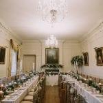 Pentillie Castle Dining Room set up for wedding breakfast Freckle Photography 14