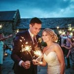 Healey Barn Wedding Venue Newcastle Northumberland outside couple sparklers