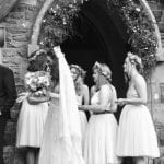 The Gwenfrewi Project wedding venue Conwy NORTH WALES outside bridesmaids