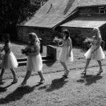 The Gwenfrewi Project wedding venue Conwy NORTH WALES bridesmaids walk