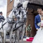 Villiers Hotel wedding venue Buckinghamshire Bride and Groom horses