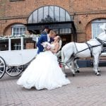Villiers Hotel wedding venue Buckinghamshire Bride and Groom Horse and Cart