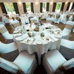 Barton Hall wedding venue Northamptonshire table chairs dining area