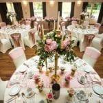 Barton Hall wedding venue Northamptonshire table bouquet