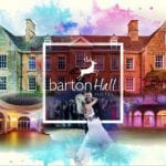 Barton Hall wedding venue Northamptonshire postcard sign