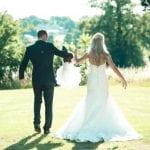 Barton Hall wedding venue Northamptonshire outdoor bride and groom