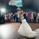 Barton Hall wedding venue Northamptonshire dance floor bride and groom