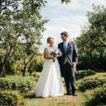 Stanlake Park & Vineyard wedding venue Berkshire couple in garden