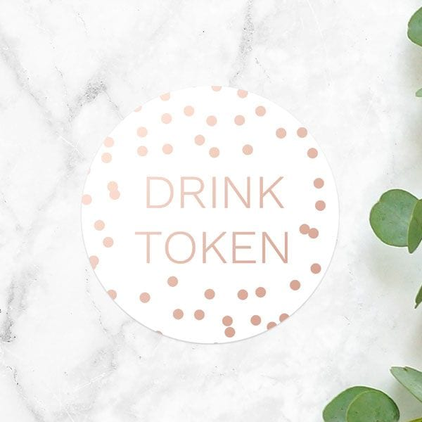 drink token wedding favour