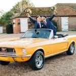 Camilla J Hards Wedding Photographer yellow car