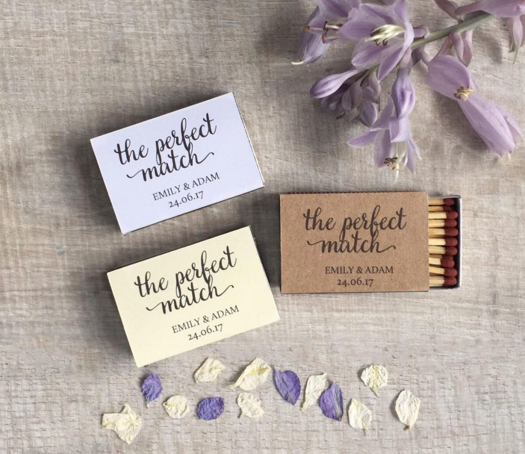 perfect wedding favour ideas - matches