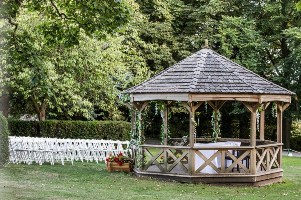 Hazlewood castle wedding venue outdoor ceremony