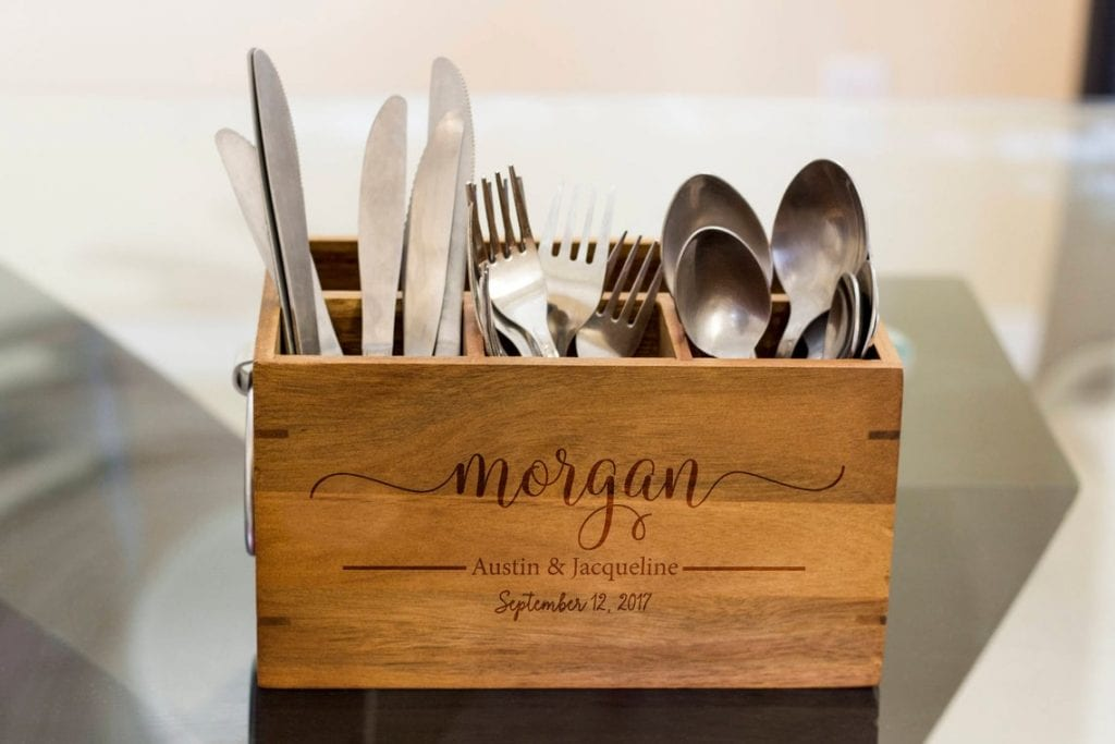 5th Anniversary gifts wooden silverware caddy