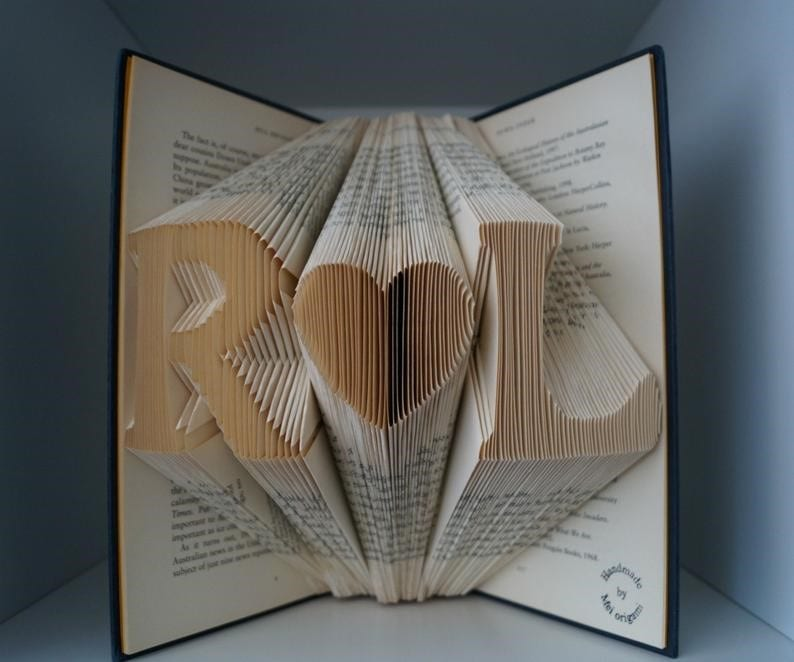 1st Wedding Anniversary Gift Ideas Personalised origami folded book 1