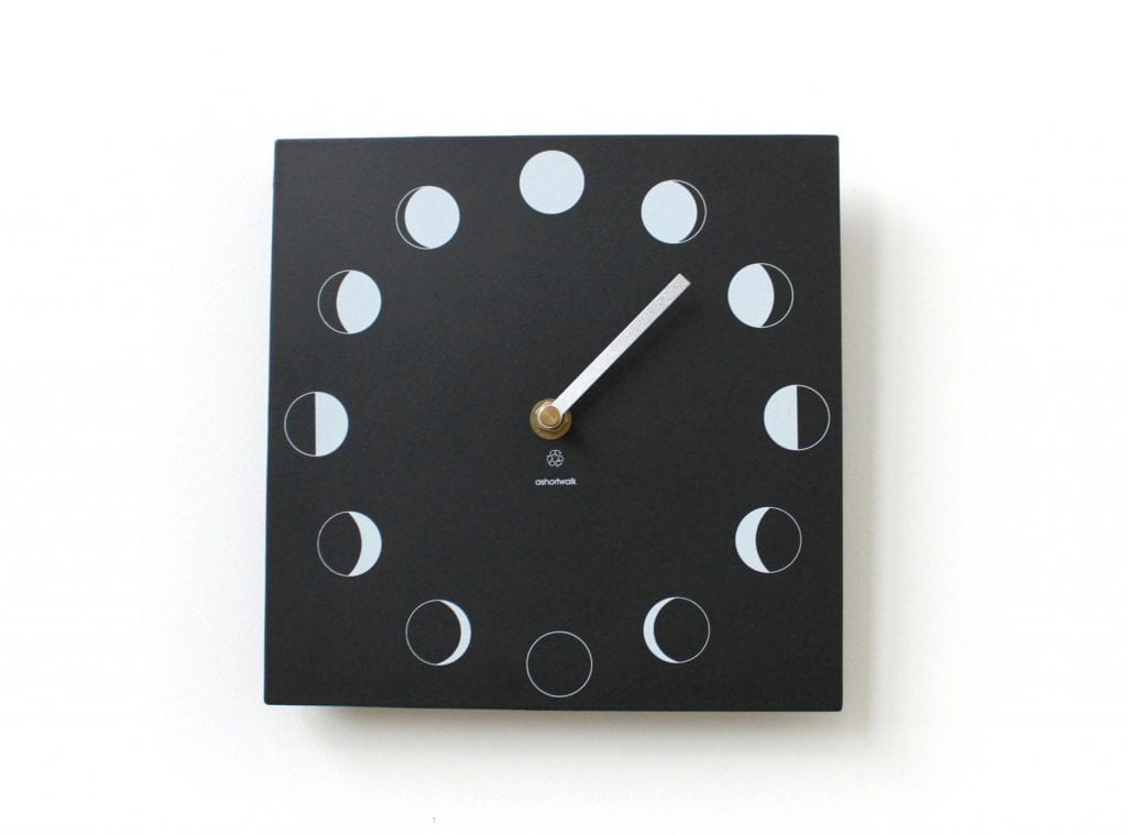 1st Wedding Anniversary Gift Ideas moon phase wall clock made from recycled 19