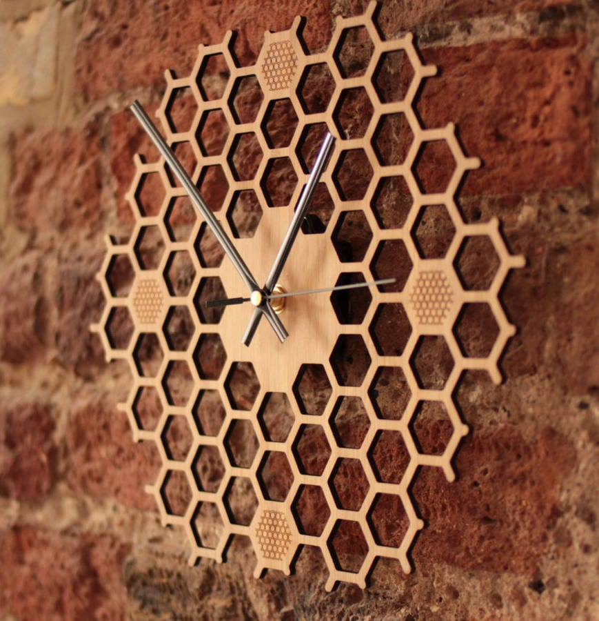 1st Wedding Anniversary Gift Ideas original open hexagon bamboo honeycomb wall clock 22