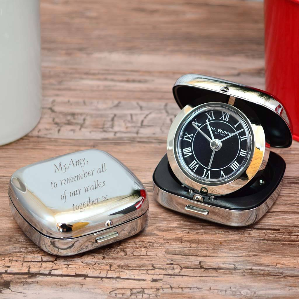 1st Wedding Anniversary Gift Ideas original personalised travel alarm clock gift 18