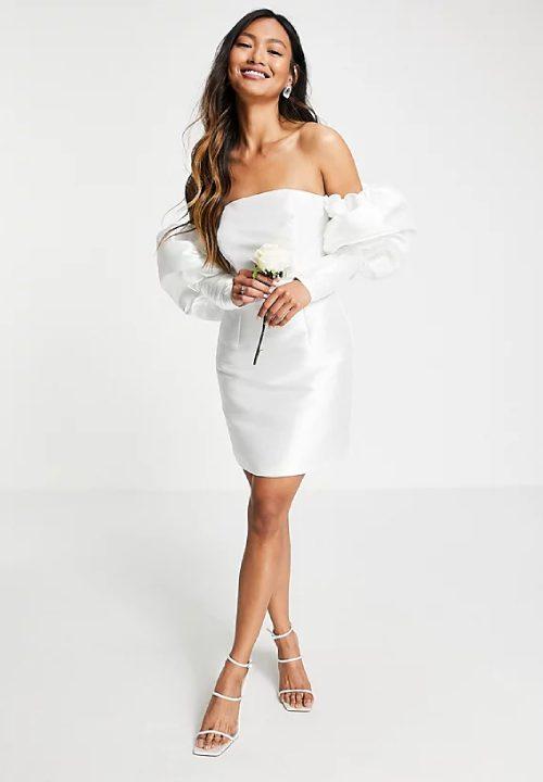 Stunning Short Wedding Dresses For ASOS Edition Puff Sleeve 25