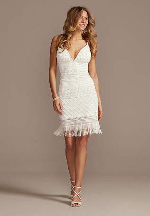Stunning Short Wedding Dresses For David's Bridal Fringe 38